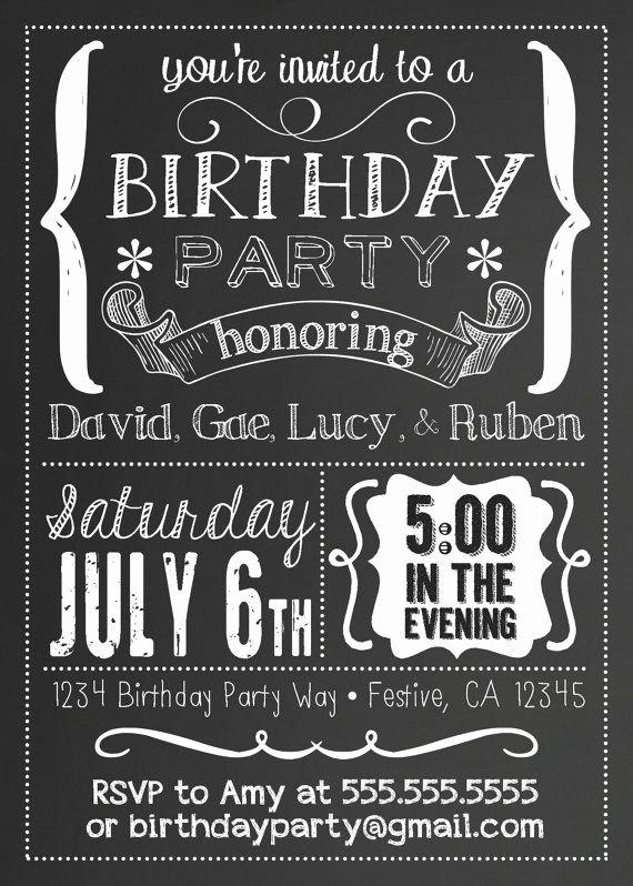 Free Birthday Chalkboard Template Fresh Printable Chalkboard Black & White Party by
