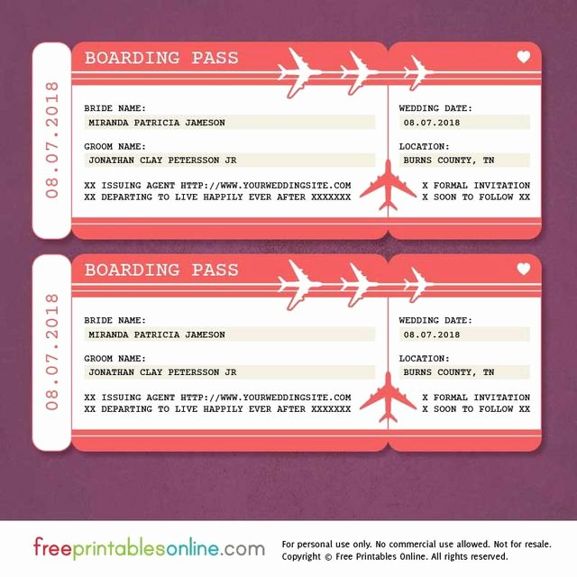 Free Boarding Pass Template Awesome Red Boarding Pass Save the Date Template
