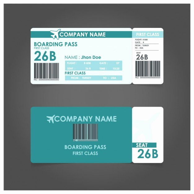 Free Boarding Pass Template Fresh Boarding Pass Template Vector
