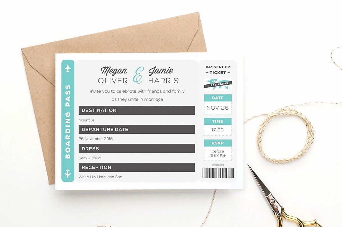 Free Boarding Pass Template Fresh Boarding Pass Wedding Invitation Wedding Templates