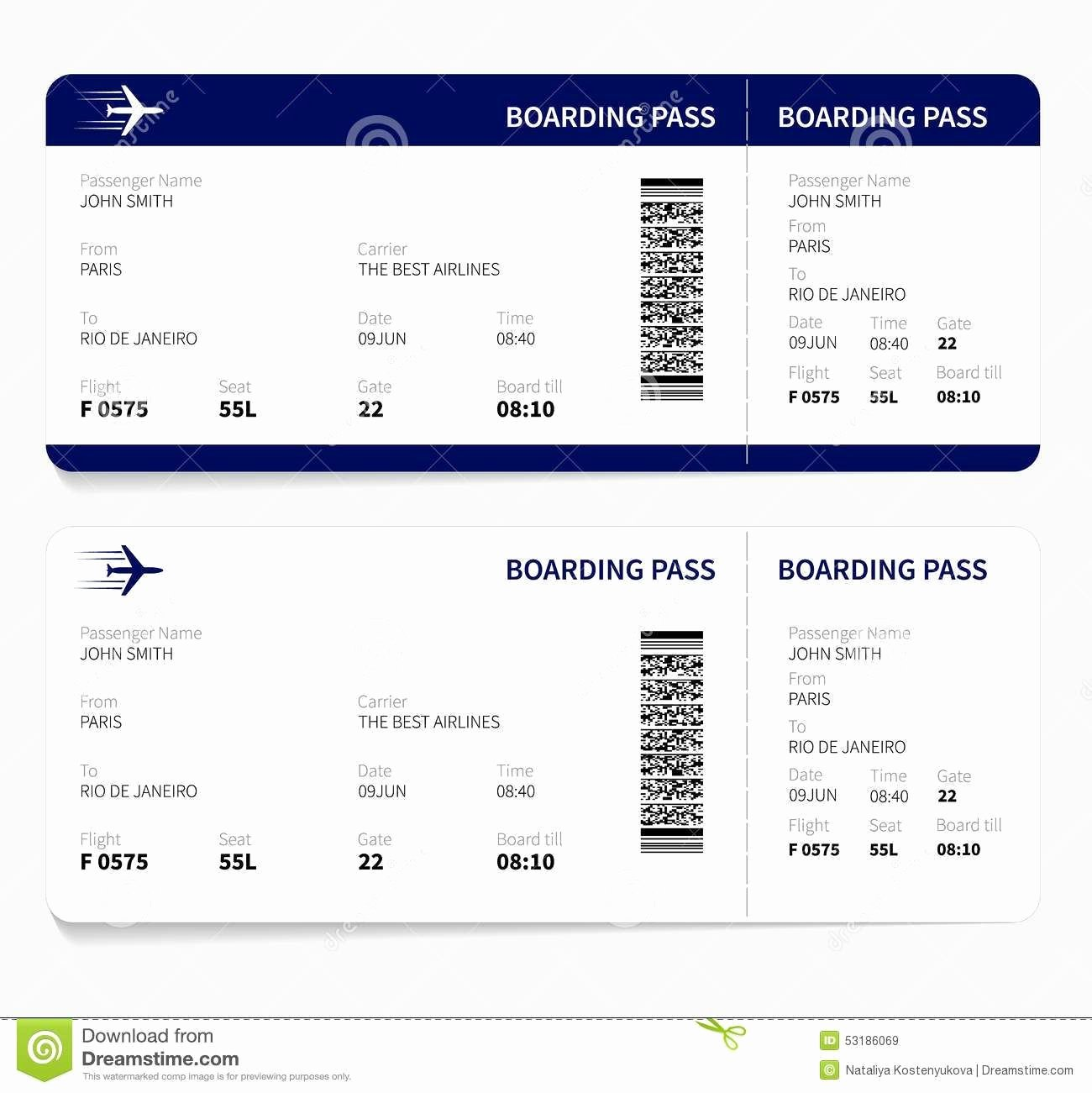 Free Boarding Pass Template Luxury Airline Ticket Template Free Sample Customer Service