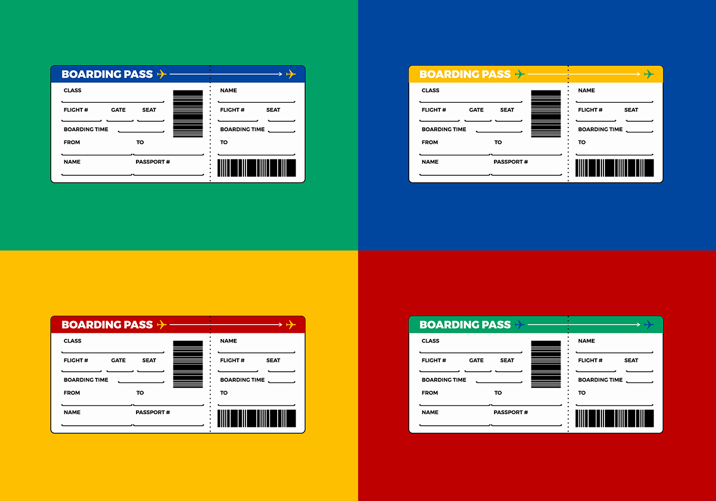 free airline ticket boarding pass vector