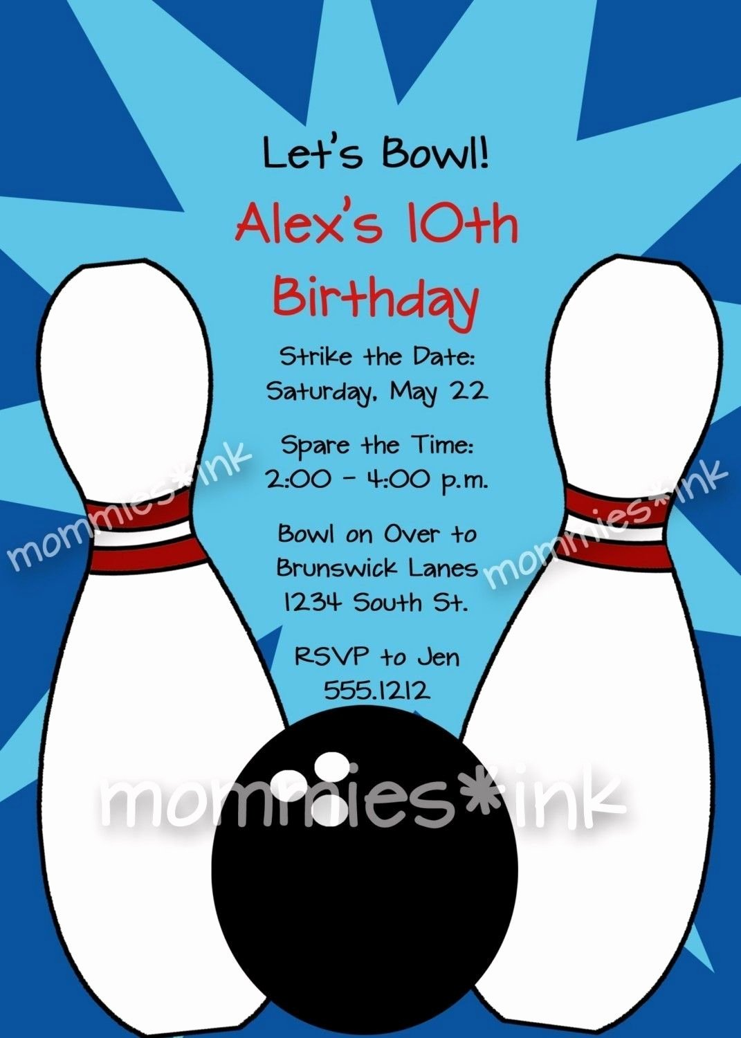 Free Bowling Invitation Template Lovely Free Bowling Party Invitations Templates with Blue