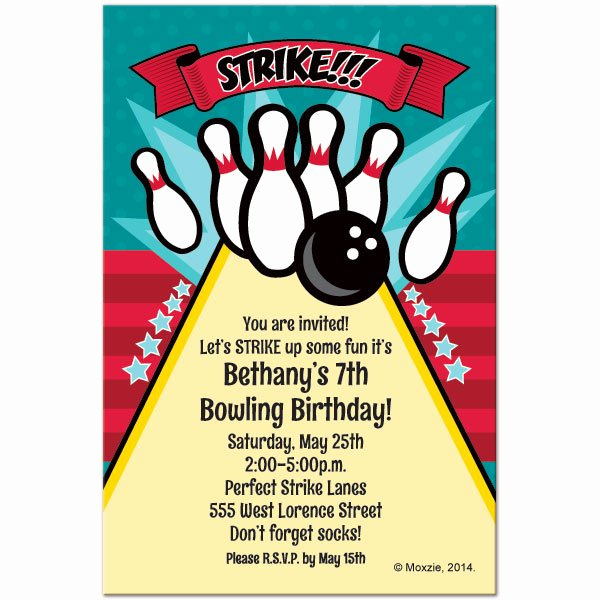 Free Bowling Invitations Template Best Of Free Printable Bowling Birthday Invitations