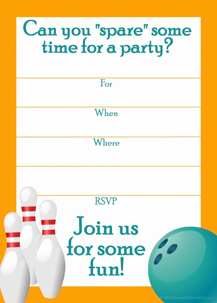 Free Bowling Invitations Template Luxury 9 Best Of Blank Printable Bowling Birthday