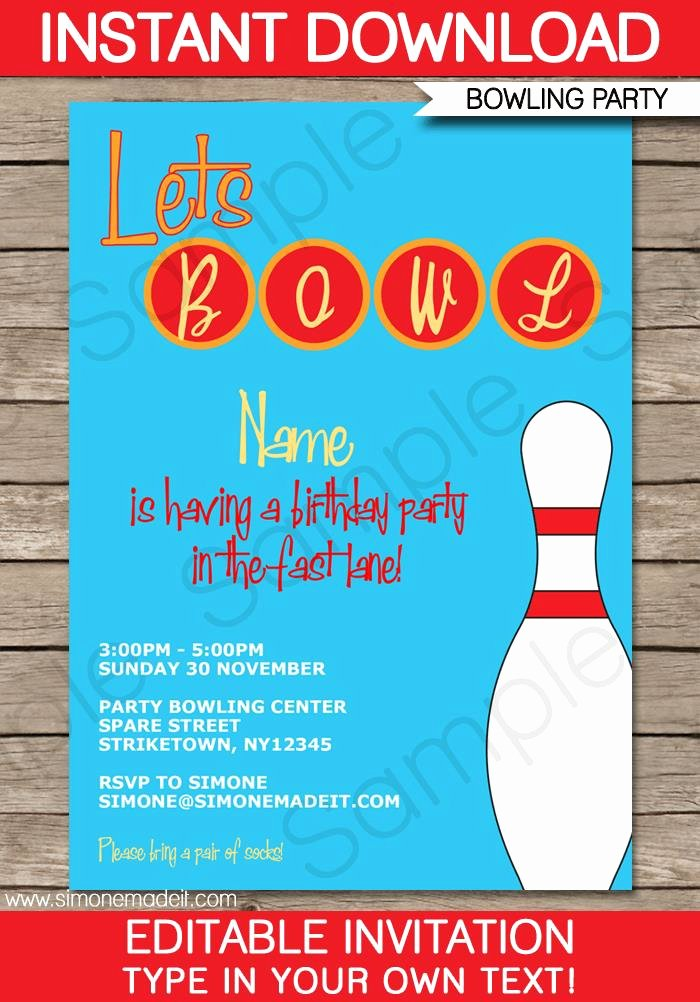 Free Bowling Invitations Template Unique Free Printable Bowling Birthday Party Invitation Templates