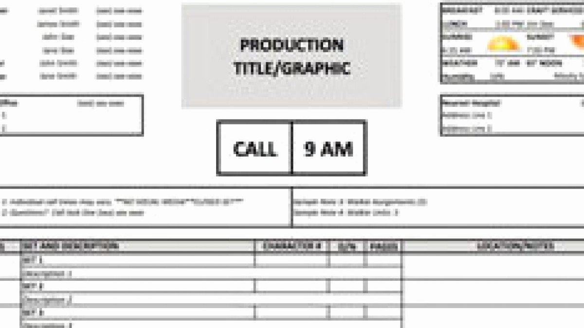 Free Call Sheet Template Awesome Download A Free Call Sheet Template to Get Your Crew