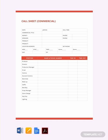 Free Call Sheet Template Best Of 201 Free Pdf Sheet Templates
