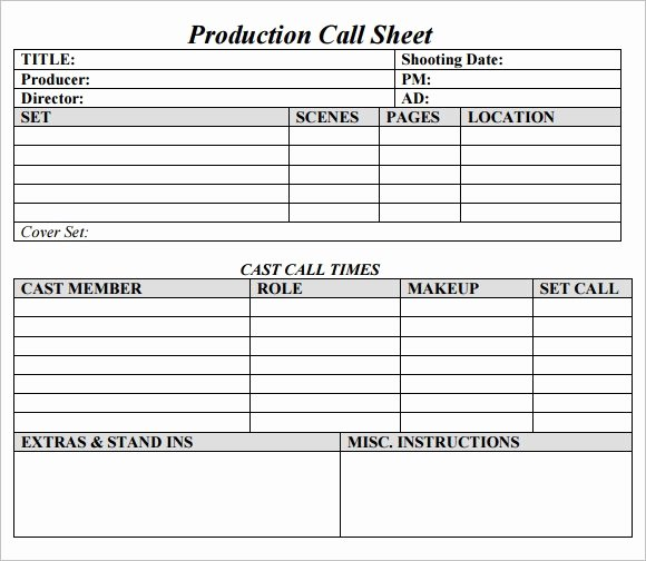 Free Call Sheet Template Best Of Call Sheet Template