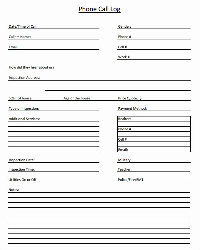 Free Call Sheet Template Fresh 15 Call Log Templates Doc Pdf Excel