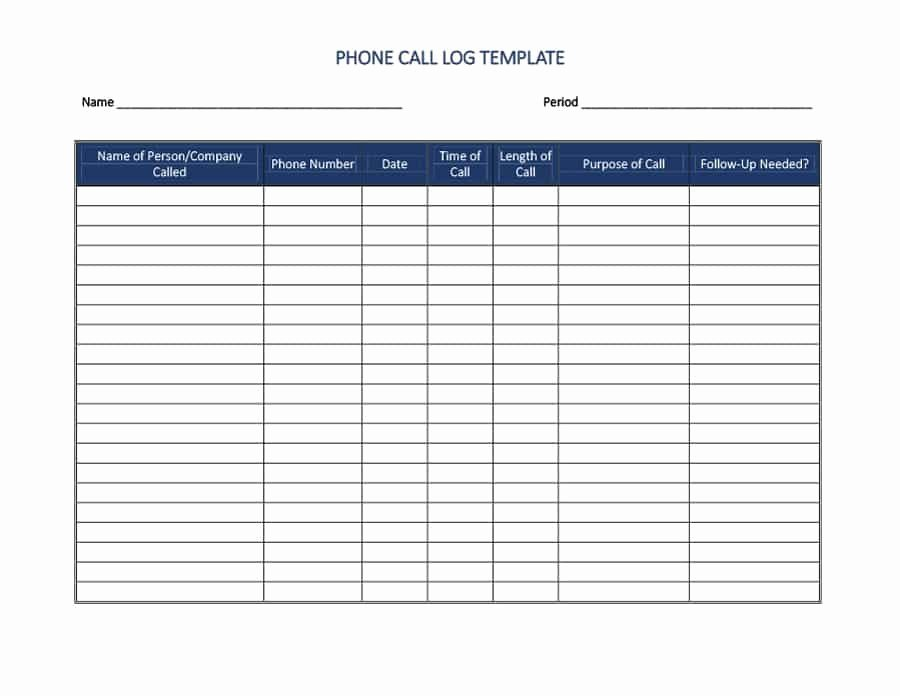 Free Call Sheet Template Lovely 40 Printable Call Log Templates In Microsoft Word and Excel