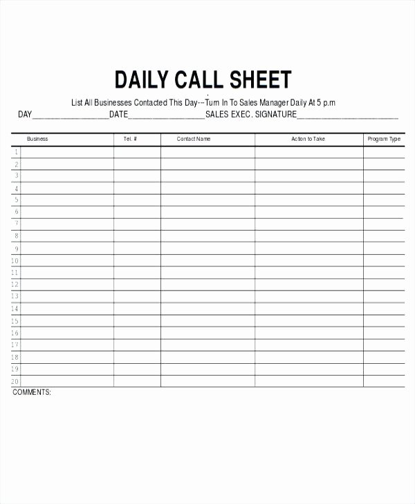 Free Call Sheet Template Luxury Call Log Sheet Template Daily Sales Rep – Rightarrow