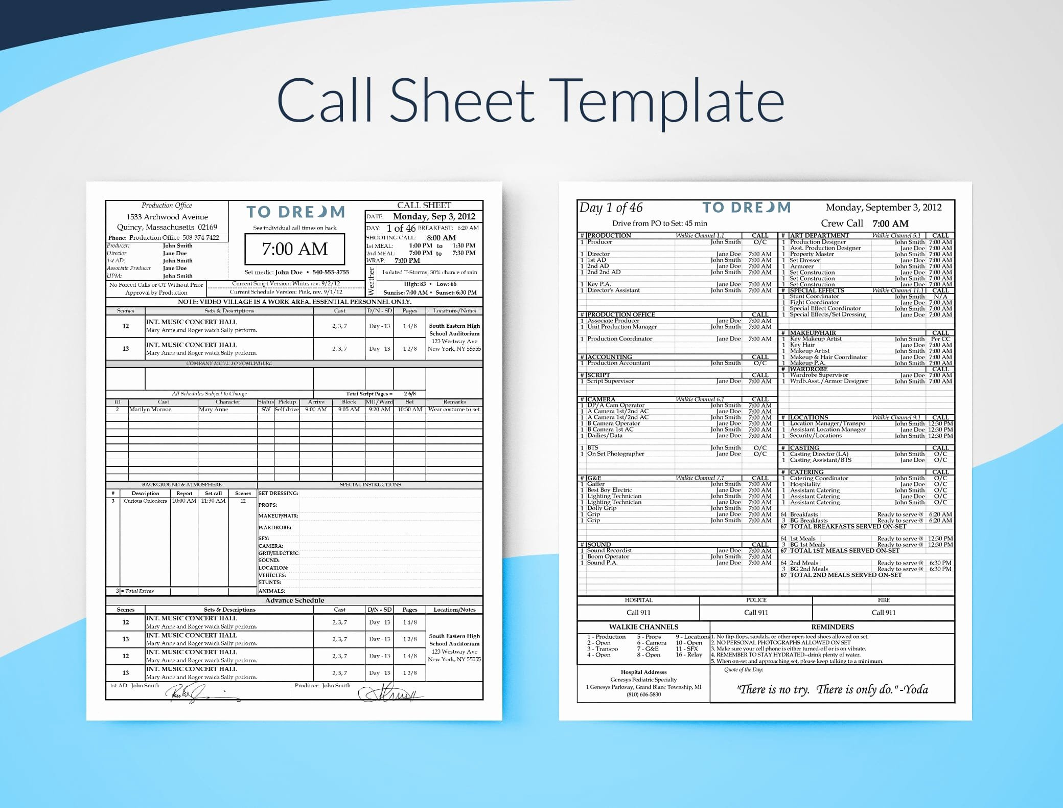 Free Call Sheet Template Luxury Production Templates Free Downloads