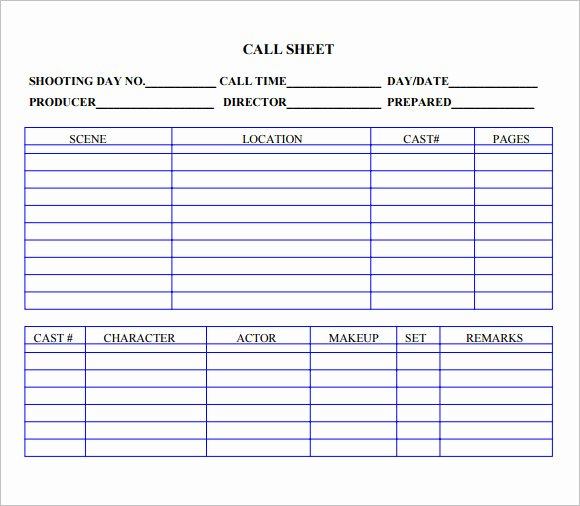 Free Call Sheet Template Unique 9 Sample Call Sheet Templates