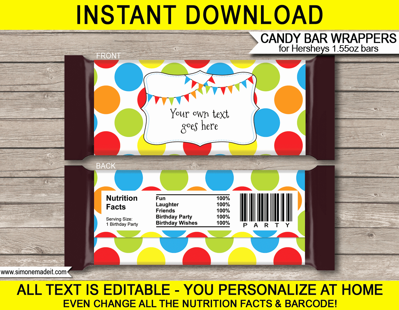 Free Candy Wrapper Template Unique Polkadot Hershey Candy Bar Wrappers