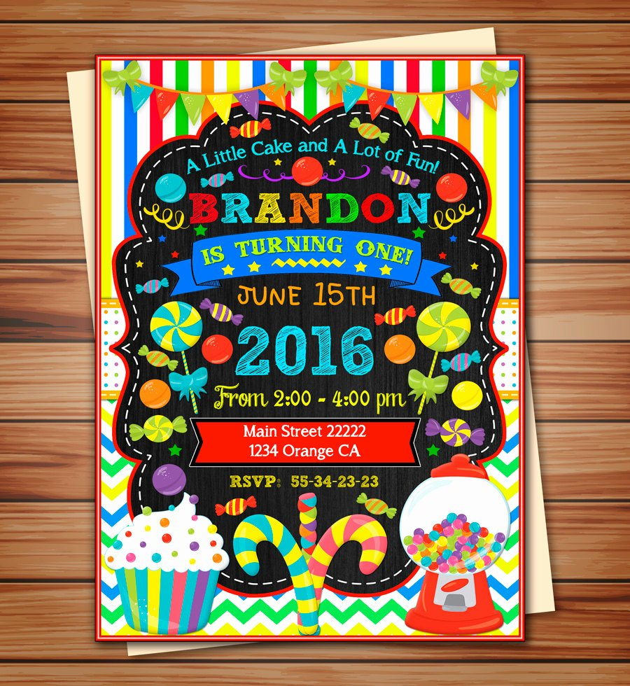 Free Candyland Invitation Template Awesome Candyland Party Invitation for Boy Candyland Digital