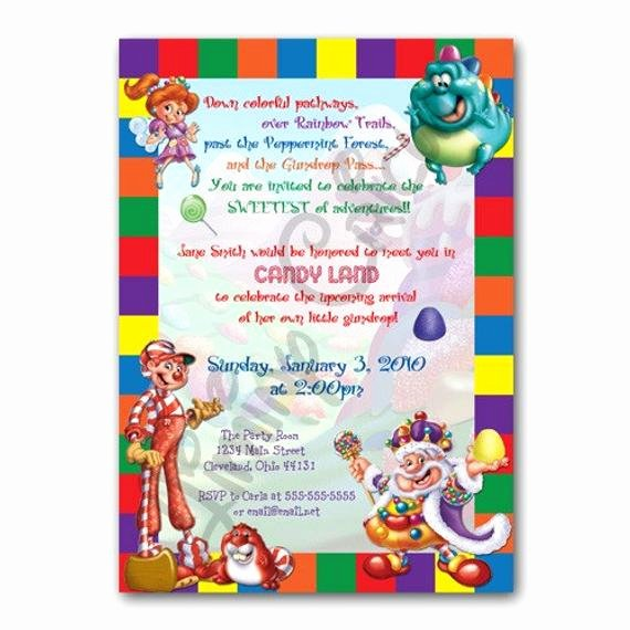 Free Candyland Invitation Template Beautiful Personalized Candyland Birthday or Shower Invitation Digital