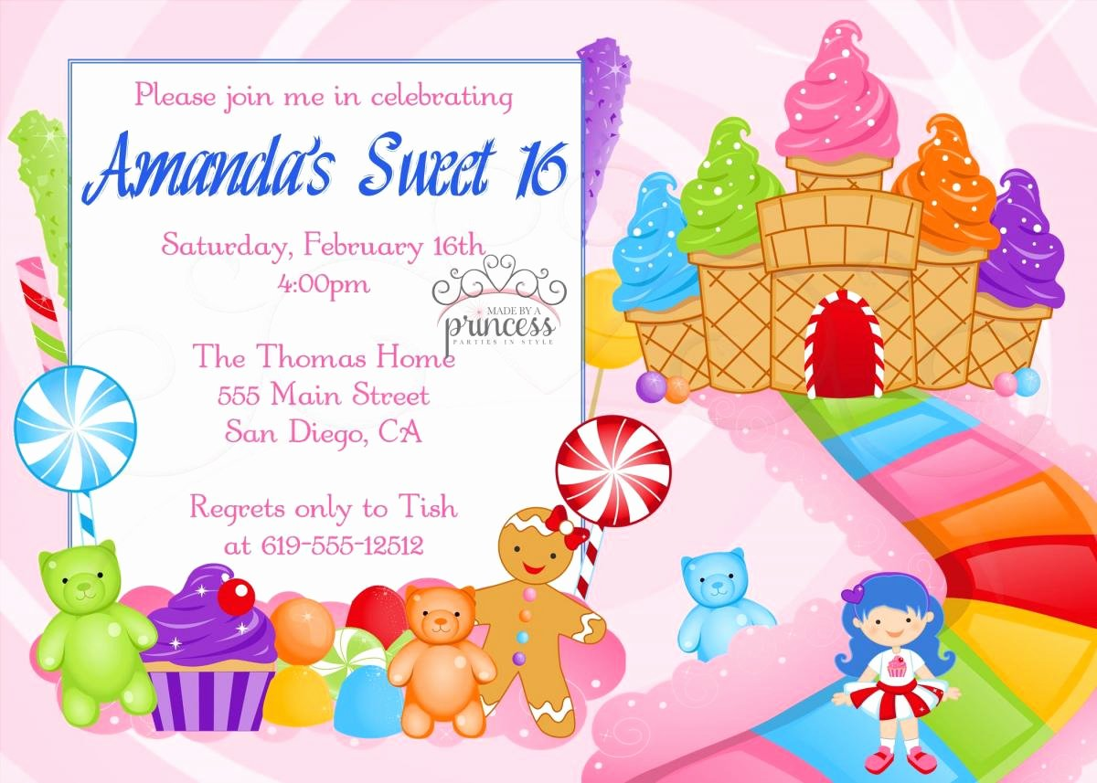Free Candyland Invitation Template Elegant Birthday Invitation Sweet 16 Candy Candyland Printable