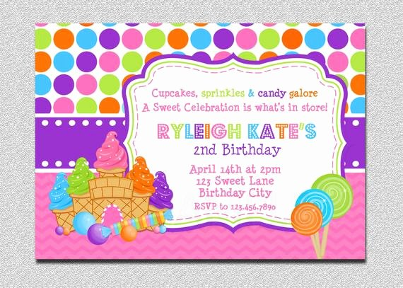 Free Candyland Invitation Template Inspirational Candyland Birthday Invitation Sweet Shoppe Candyland Birthday
