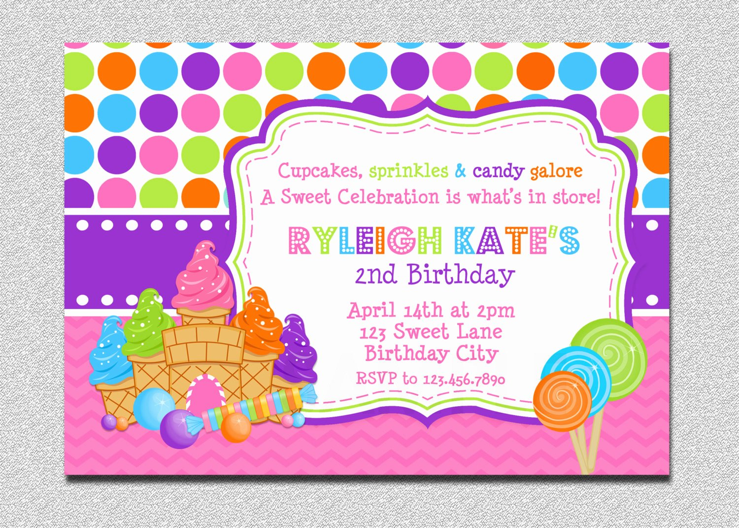 Free Candyland Invitation Template Lovely Candyland Birthday Invitation Sweet Shoppe Candyland Birthday