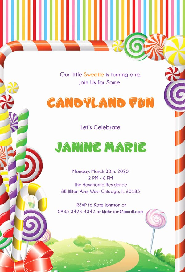 Free Candyland Invitation Template Unique 13 Wonderful Candyland Invitation Templates