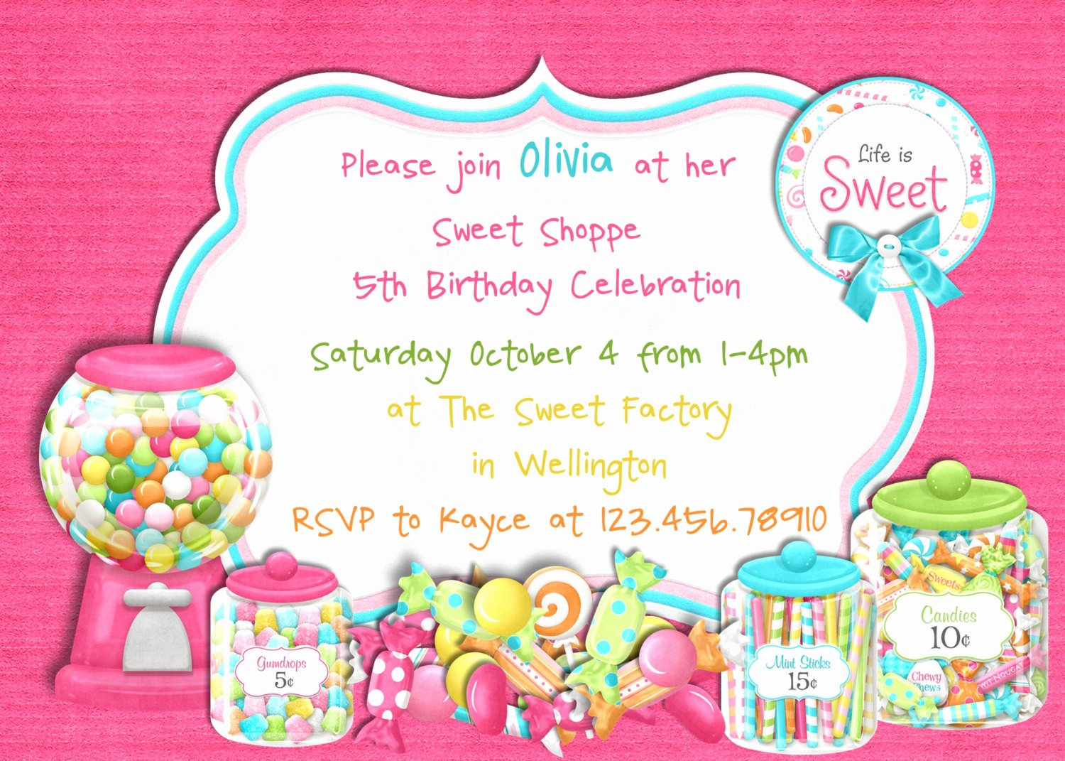 Free Candyland Invitation Template Unique Candy Sweet Shoppe Girl Birthday Invitation by 3peasprints