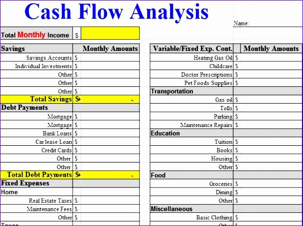 Free Cash Flow Template Beautiful 6 Free Cash Flow Template Excel Exceltemplates
