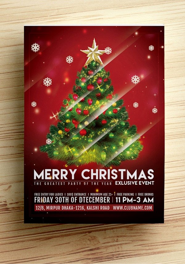 Free Christmas Poster Template Awesome Free Christmas Party Flyer Templates Stockvault Blog