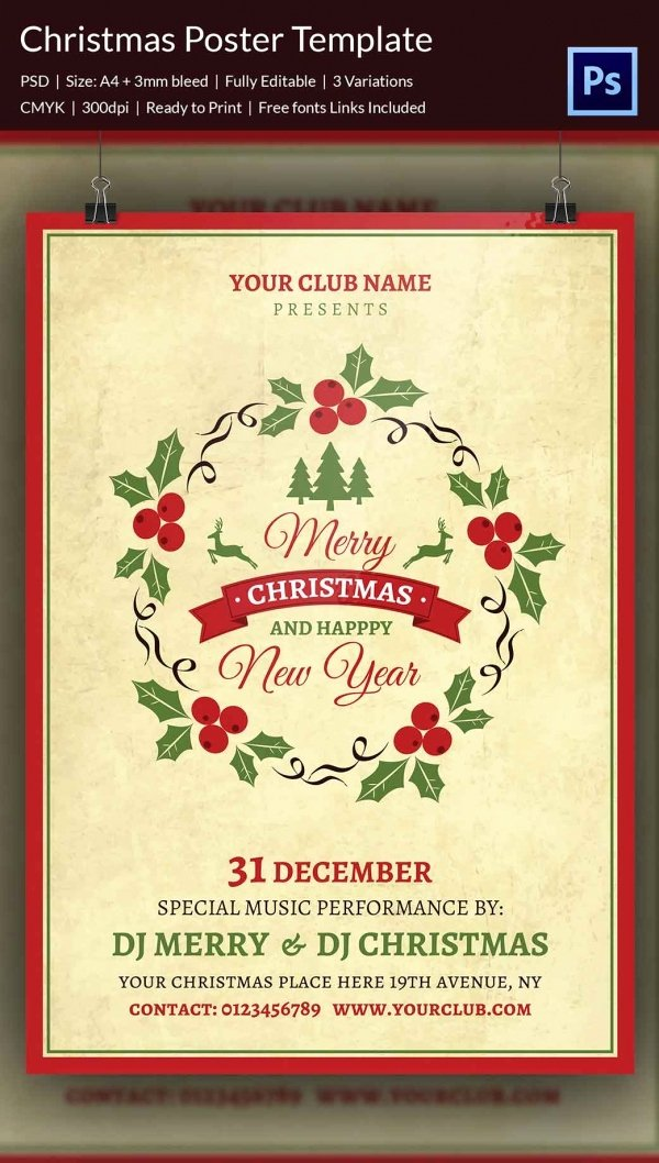 Free Christmas Poster Template Beautiful 22 Christmas Posters Psd format Download