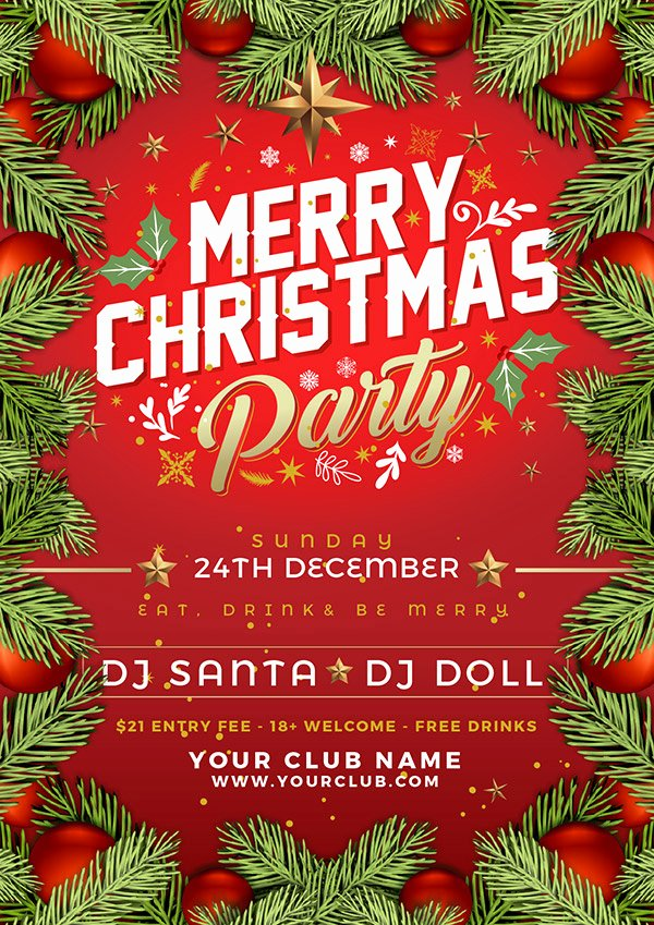 Free Christmas Poster Template Fresh Free Christmas Party Flyer Poster Design Template 2017