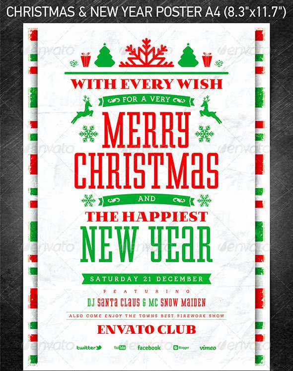 Free Christmas Poster Template Luxury 25 Christmas & New Year Party Psd Flyer Templates