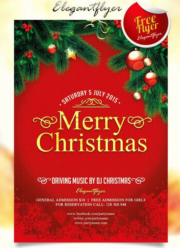 Free Christmas Poster Template Luxury 30 Best New Year and Christmas Free Flyers Psd Templates