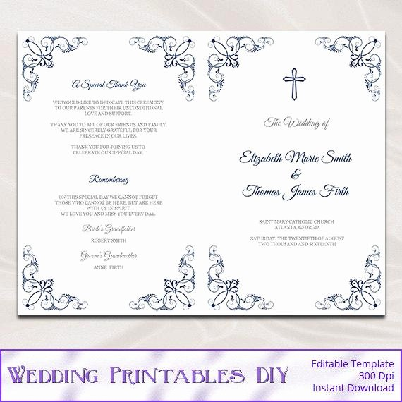 Free Church Program Template Luxury Catholic Wedding Program Template Diy Navy Blue Church