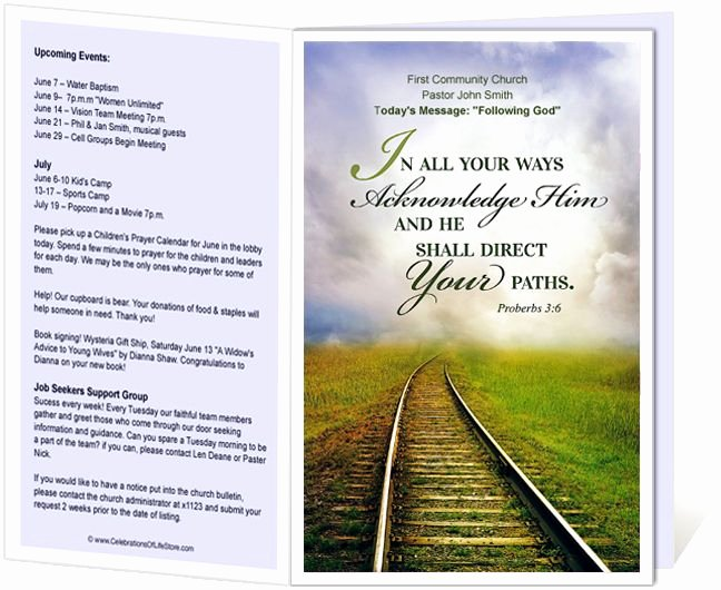 Free Church Program Template Unique Church Bulletin Templates Railroad Church Bulletin