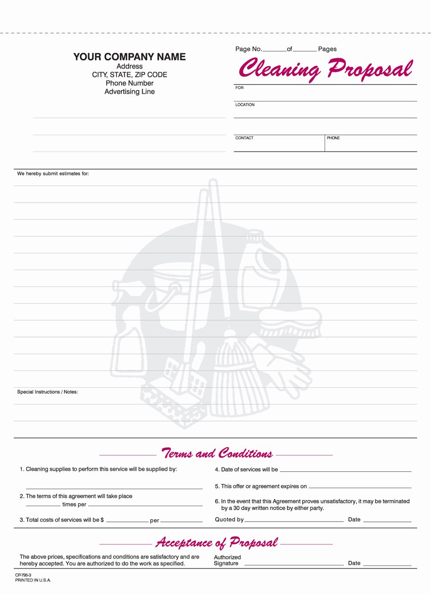 Free Cleaning Proposal Template Beautiful 9 Best Of Free Printable Cleaning Business forms