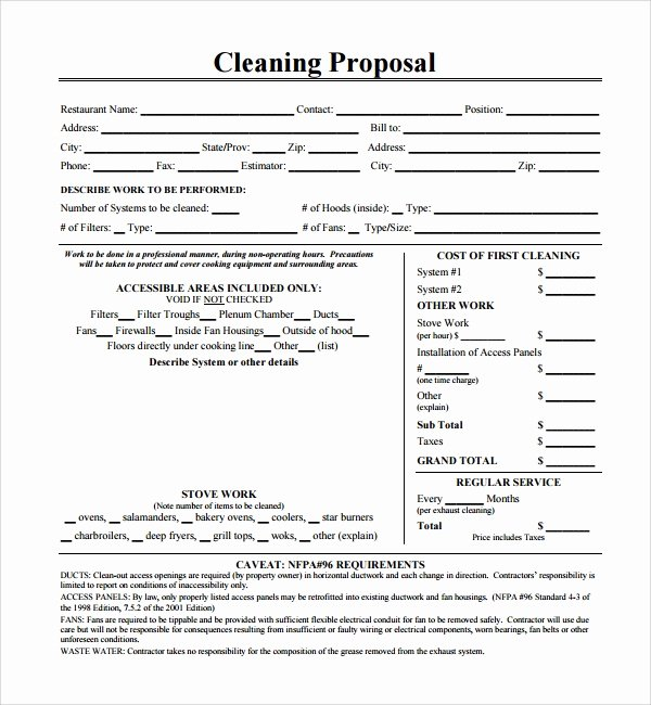 Free Cleaning Proposal Template Fresh 13 Cleaning Proposal Templates – Pdf Word Apple Pages