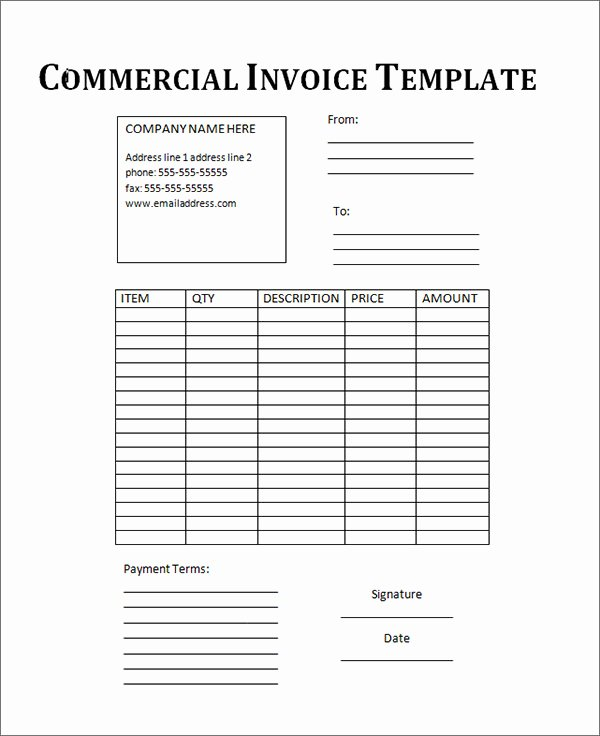 Free Commercial Invoice Template Awesome 18 Free Mercial Invoice Templates