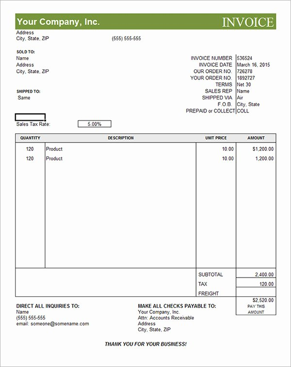 Free Commercial Invoice Template Inspirational 18 Free Mercial Invoice Templates