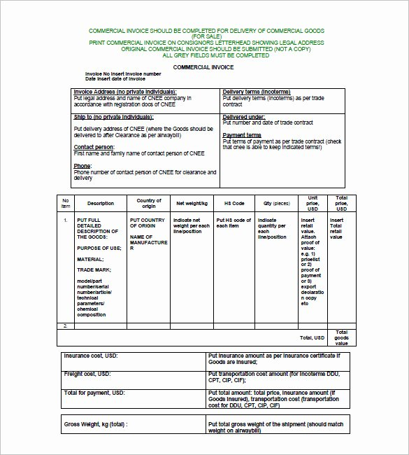 Free Commercial Invoice Template Luxury 15 Sample Mercial Invoice Templates Pdf Doc Ai