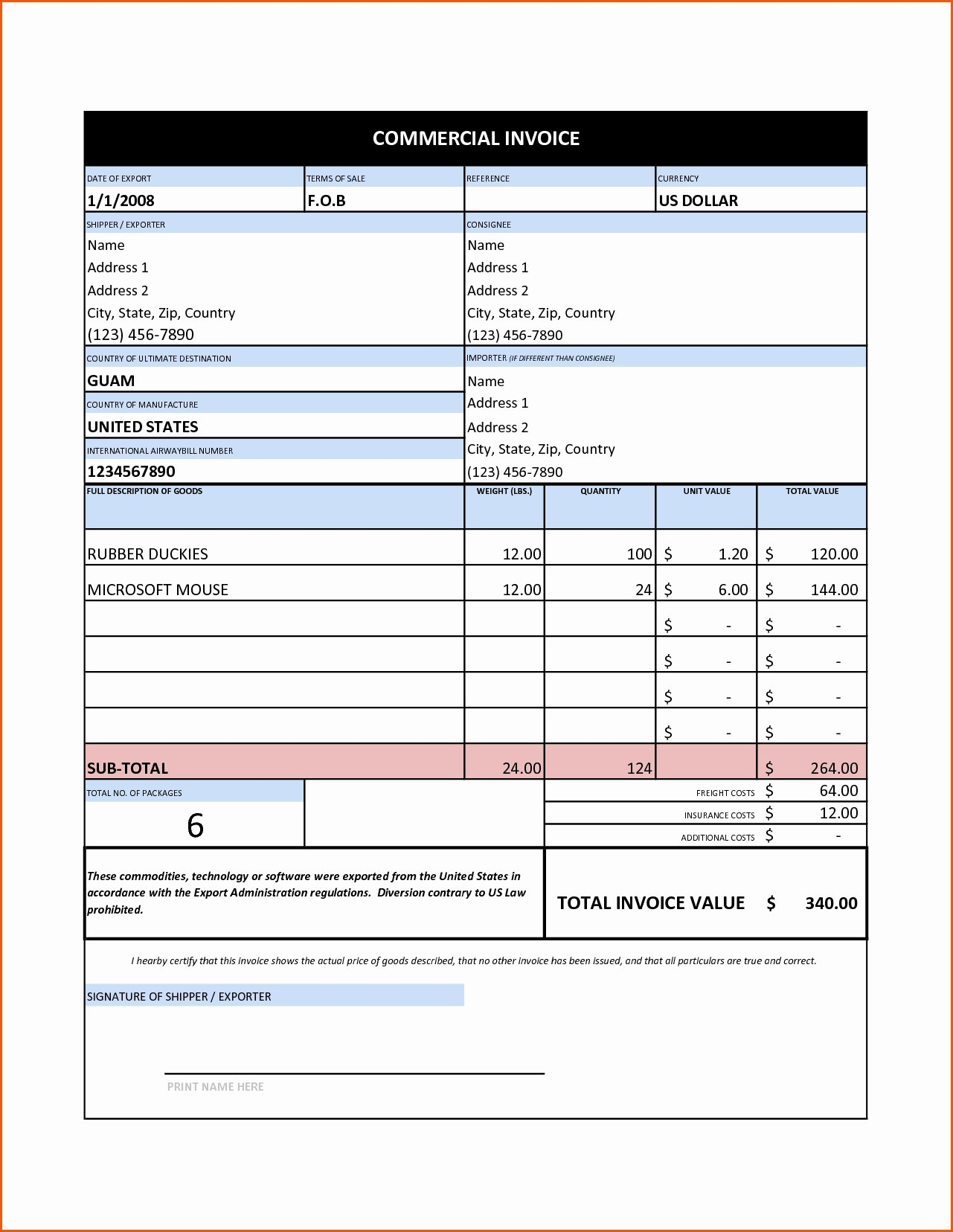 Free Commercial Invoice Template New Mercial Invoice Sample Excel Invoice Template Ideas