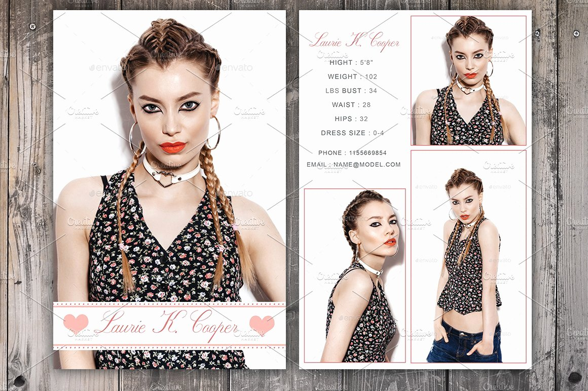 Free Comp Card Template Best Of Modeling P Card Template Card Templates Creative Market