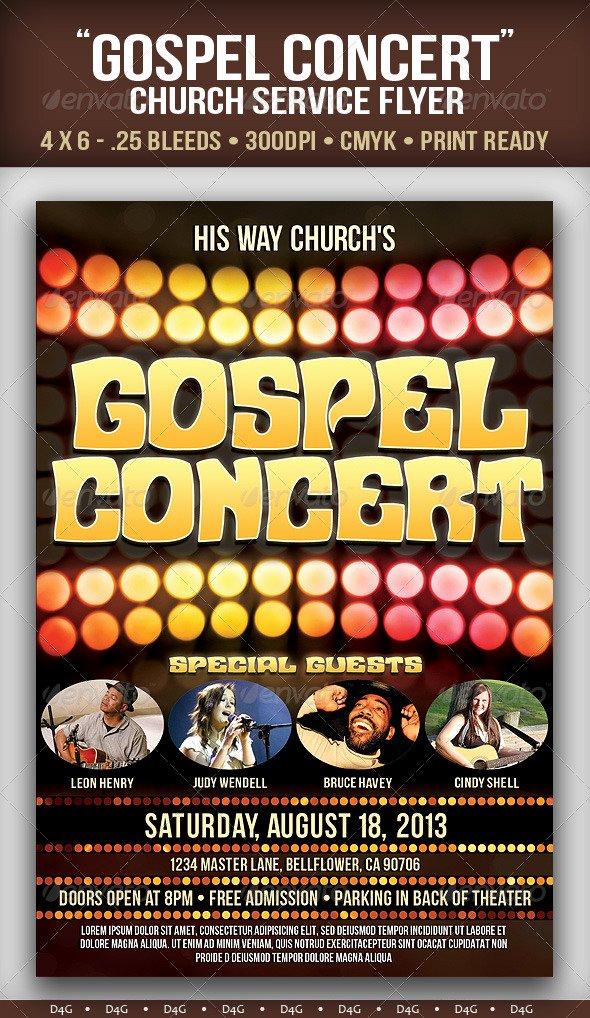 """Free Concert Flyer Template Best Of """"gospel Concert"""" Church Flyer"""