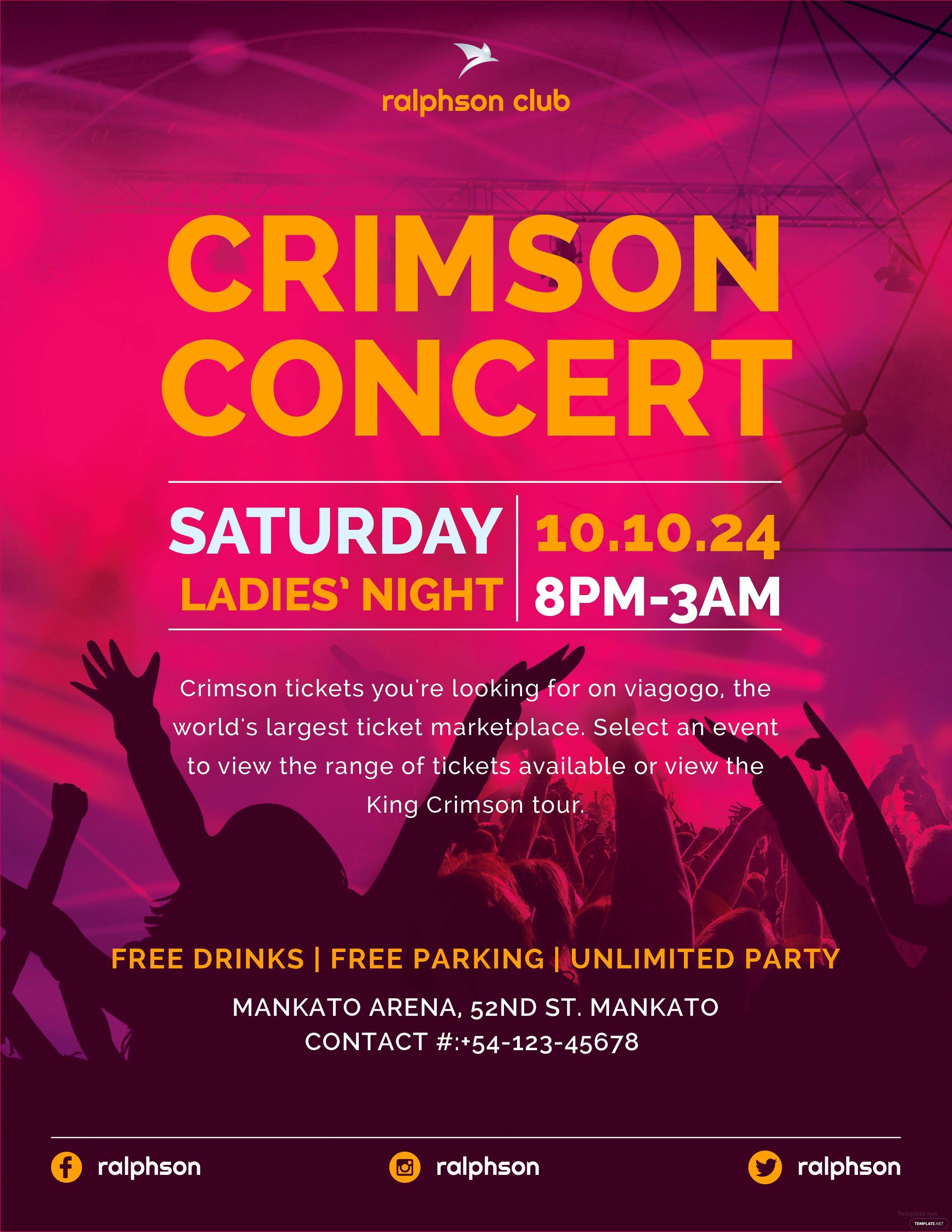 Free Concert Flyer Template Luxury Free Crimson Concert Flyer Template In Adobe Illustrator