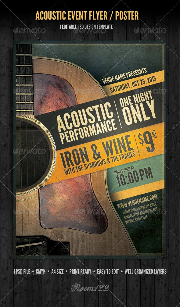 Free Concert Poster Template Beautiful Acoustic event Flyer Poster Template