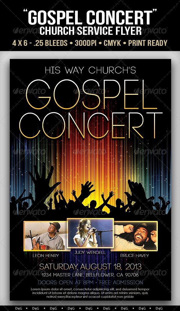Free Concert Poster Template Lovely Gospel Concert Lights Flyer Template On Behance