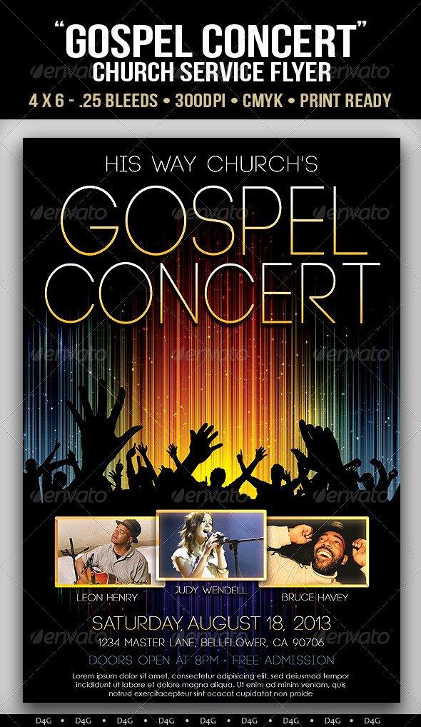 Free Concert Poster Template Lovely Gospel Concert Lights Flyer Template On Behance
