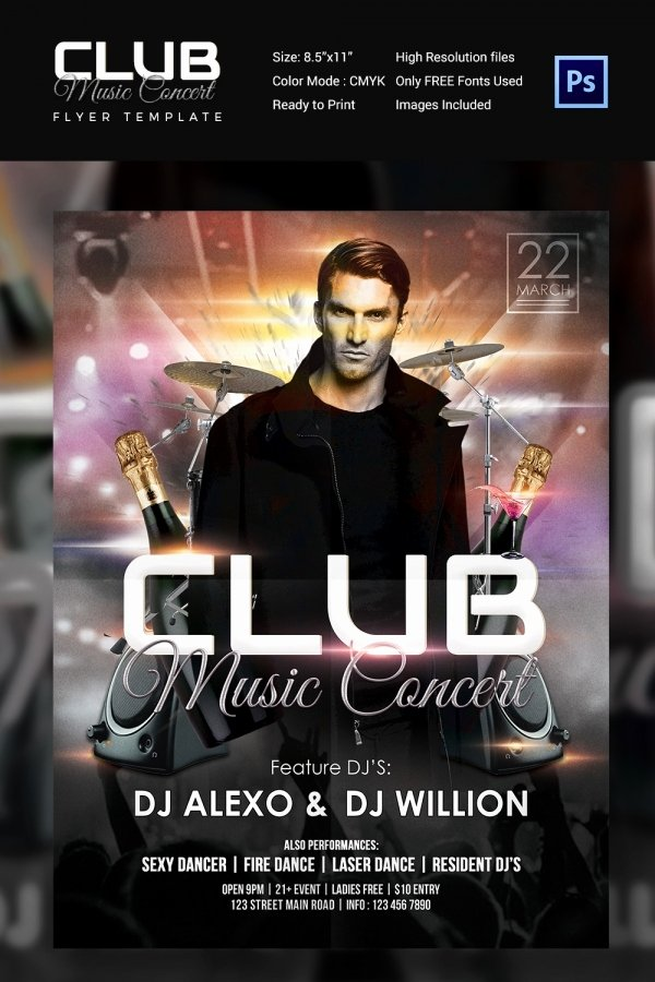 Free Concert Poster Template Luxury Concert Flyer Template 35 Psd format Download