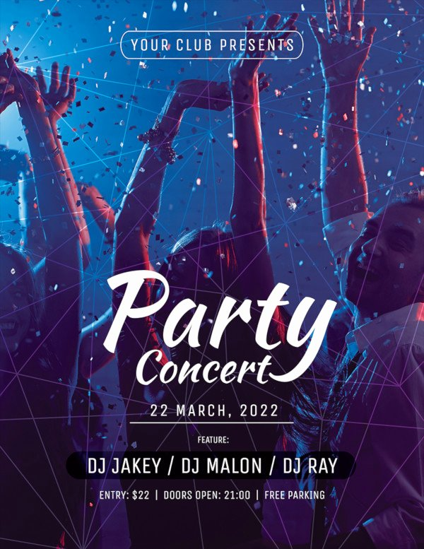 Free Concert Poster Template Unique 73 Printable Party Flyer Templates Psd Ai Word Pages