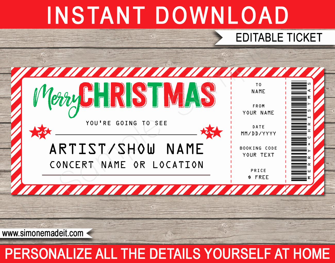 Free Concert Ticket Template Fresh Printable Christmas Gift Concert Ticket Template