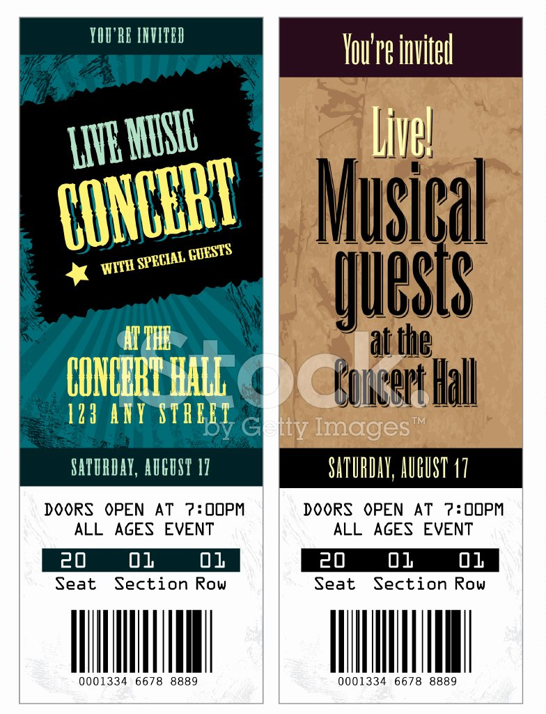 Free Concert Ticket Template Lovely Set Of Cool Concert Tickets Template Stock Vector